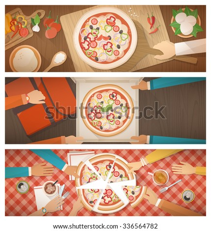 Pizza cooking at restaurant, home delivery and eating together at home, banners set - stock vector