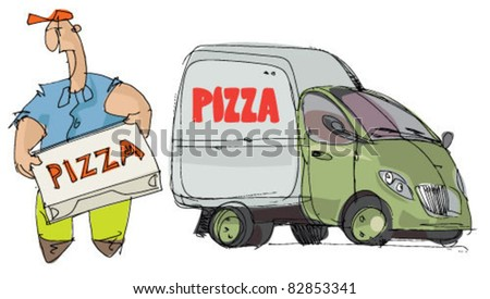 pizza delivery - stock vector