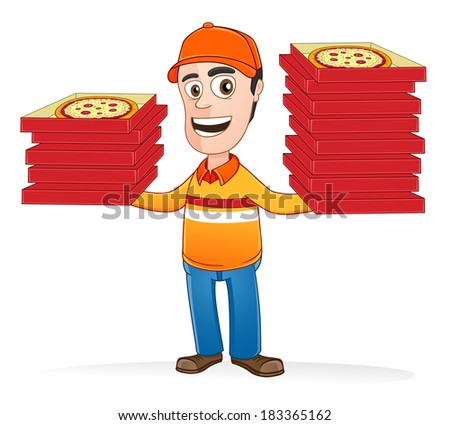 Pizza delivery man holding many pizza boxes - stock vector