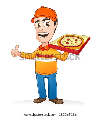 Pizza delivery man holding pizza box and showing thumbs up  - stock vector