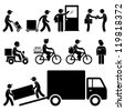 Pizza Delivery Man Postman Milkman Paperboy Courier Services Stick Figure Pictogram Icon - stock