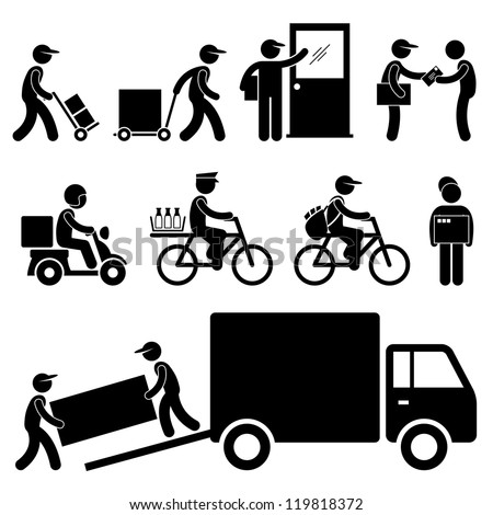 Pizza Delivery Man Postman Milkman Paperboy Courier Services Stick Figure Pictogram Icon - stock vector