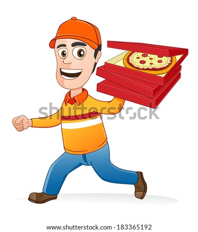 Pizza delivery man running by holding boxes of pizza  - stock vector