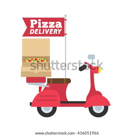 pizza delivery scooter in flat style isolated on white background - stock vector