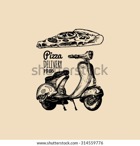 Pizza delivery scooter. Vector hand sketched motorroller with italian food. - stock vector