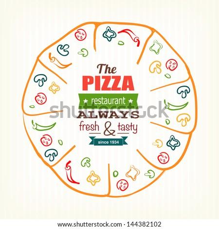 pizza design template for menu, banner, advertising etc eps10 - stock vector