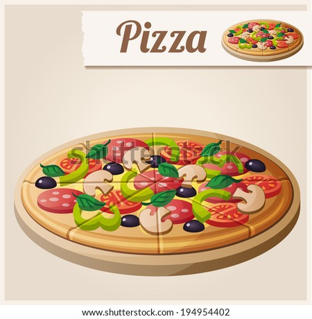 Pizza. Detailed Vector Icon. Series of food and drink and ingredients for cooking. - stock vector