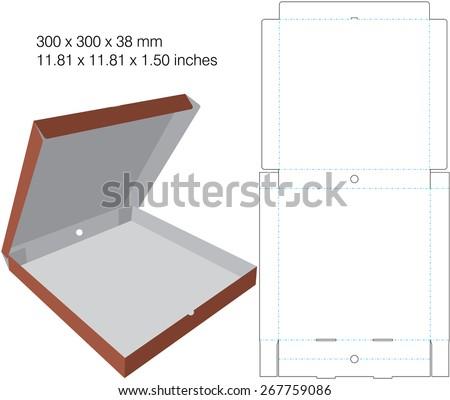 pizza die cut box design. for pizza with maximum 300 mm diameter. - stock vector
