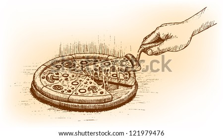 Pizza drawn by hand - stock vector