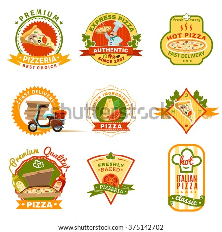 Pizza emblems set with fresh ingredients and premium quality symbols cartoon isolated vector illustration  - stock vector