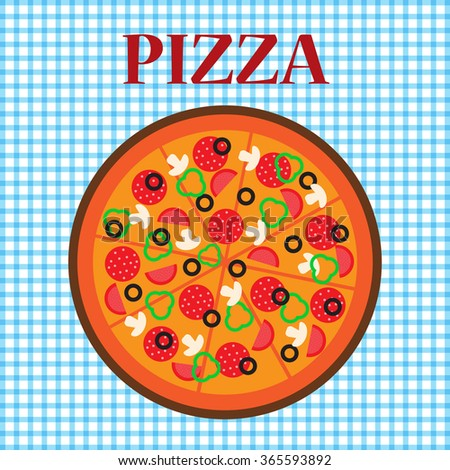 Pizza flat design. Hot fresh food. Fresh pizza. - stock vector