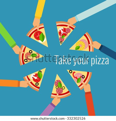 Pizza flat hand concept in flat style made in vector - stock vector