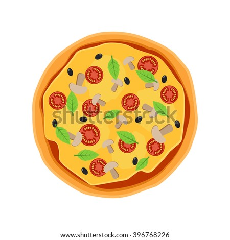 Pizza flat icons isolated on white background. Pizza food silhouette. Pizza menu illustration isolated. Pizza collection isolated  vector