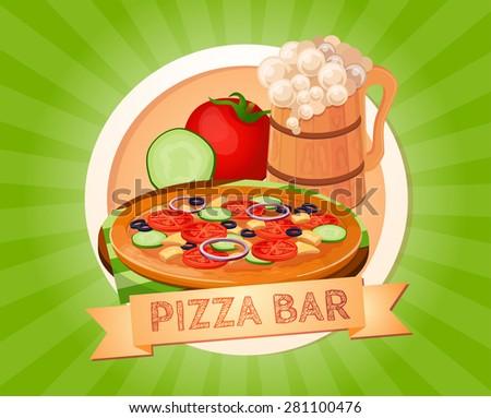 Pizza, food, beer, bar, Italian, American, fast food - stock vector