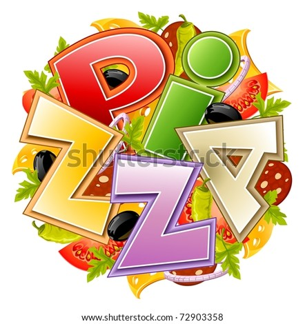 pizza food concept vector illustration isolated on white background - stock vector