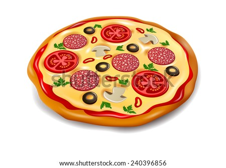 pizza front view - stock vector