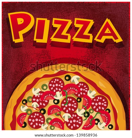 Pizza half, illustration useful for promoting pizzerias - stock vector