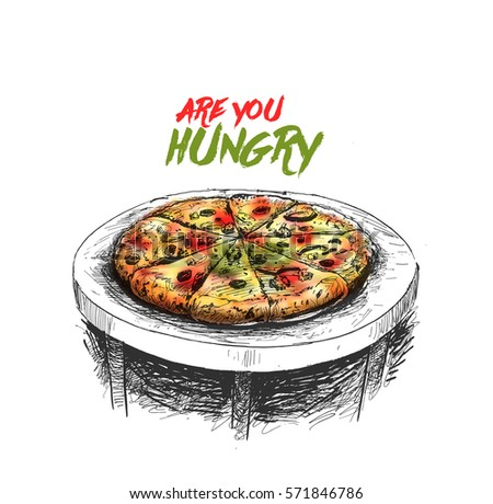 pizza, Hand Drawn Sketch Vector illustration.