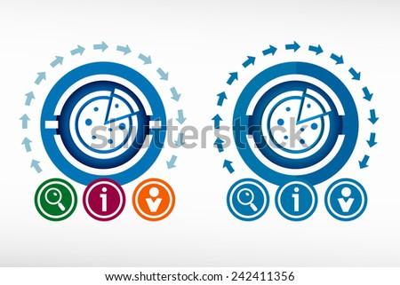 Pizza icon and creative design elements. Flat design concept. - stock vector