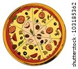 Pizza icon. Hand drawing sketch vector illustration - stock vector