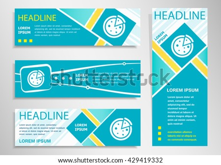 Pizza  icon on vertical and horizontal banner. Modern abstract flyer, banner design template.  - stock vector