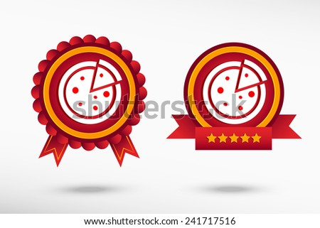 Pizza icon stylish quality guarantee badges. Colorful Promotional Labels - stock vector
