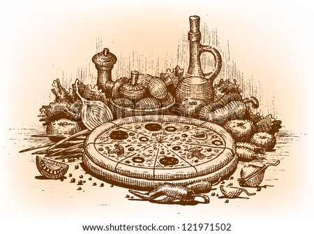 Pizza illustration drawn by hand - stock vector