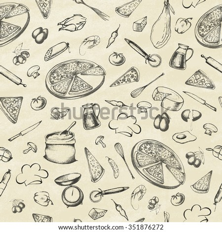 Pizza. Illustration of a vintage graphic element for menu. Retro vintage style. Set of ingredients.Seamless pattern.  Vector illustration.