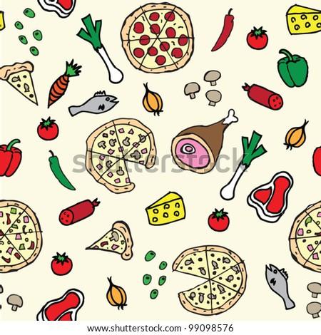 Pizza illustration seamless pattern - stock vector