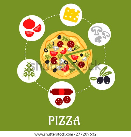 Pizza infographic with ingredients surrounding a cooked sliced pizza including salami, herbs, tomato, cheese, mushrooms and olives. Flat style - stock vector