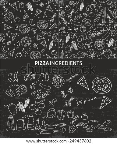 pizza ingredients, pattern with pizza ingredients