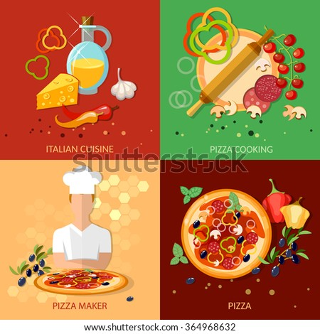 Pizza ingredients work pizzeria chief cooking pizza vector set - stock vector