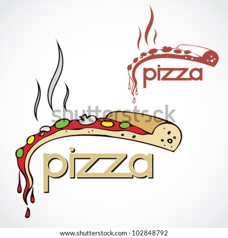 Pizza label - vector illustration - stock vector