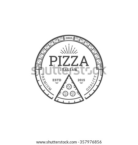 Pizza logo template for cafe or restaurant in linear style. Design emblem for pizzeria. Vector pizza stamp. - stock vector