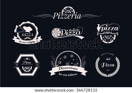 Pizza logos, badges labels or set pizzeria logotypes - stock vector