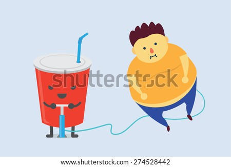 Pizza make man fat fast with air pump - stock vector