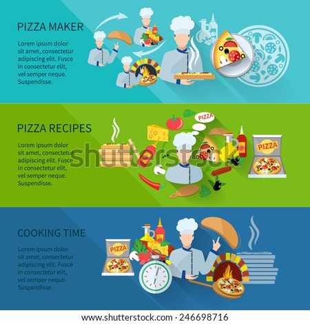 Pizza maker flat horizontal banner set with recipes cooking time isolated vector illustration - stock vector