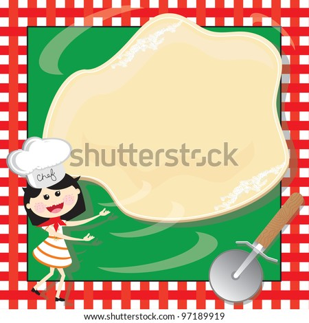 Pizza Making Birthday Party Invitation Card A little girl with chef's hat and red scarf tosses a flour dusted pizza dough into the air against a checkered tablecloth with a pizza slicer in the corner. - stock vector