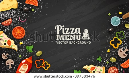 Pizza menu chalkboard cartoon background with fresh ingredients vector illustration  - stock vector