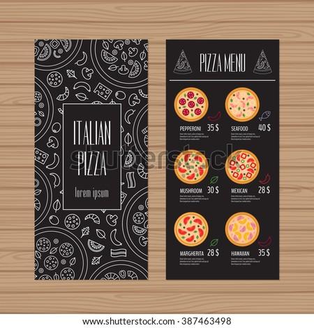 cafe brochure design - pizza menu design leaflet flyer layout stock vector