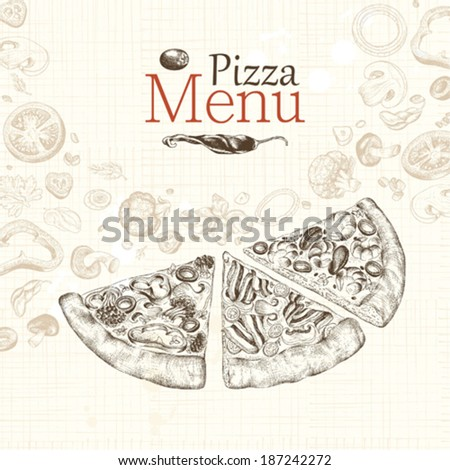 Pizza menu restaurant, hand-drawn illustration. - stock vector