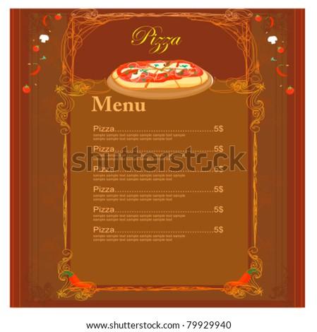 Menu Pizza Different Toppings Vector 96679630 Shutterstock – Sample Pizza Menu Template