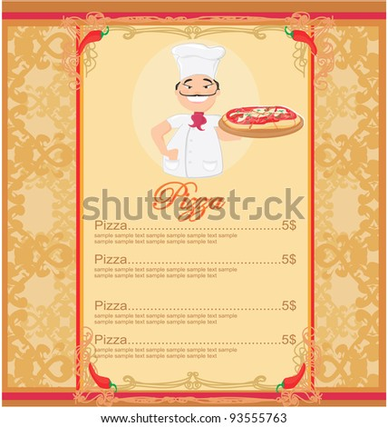 Pizza Menu Template Stock Vector 93555763 - Shutterstock