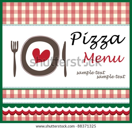 Pizza Menu Stock Vector 90871076 - Shutterstock