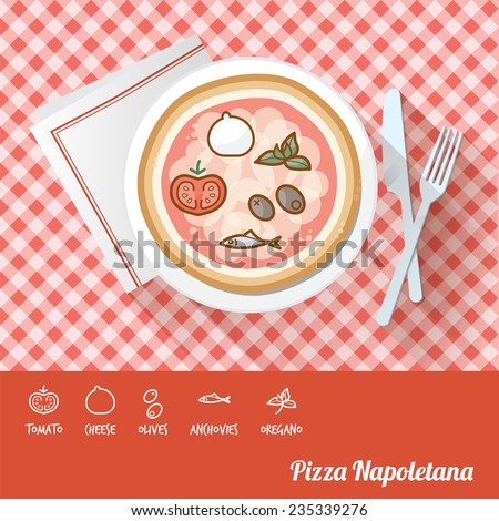 Pizza napoletana on a dish with icon ingredients and recipe name at bottom - stock vector