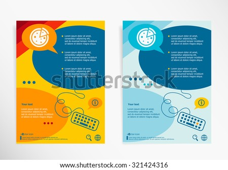 Pizza on chat speech bubbles. Modern flyer, brochure vector template. - stock vector