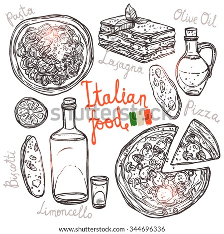 Pizza, Pasta, Lasagna, Olive Oil In Sketch Style. Italian Hand Drawn Food Collection - stock vector