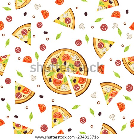 Pizza pattern.Vector seamless background. - stock vector