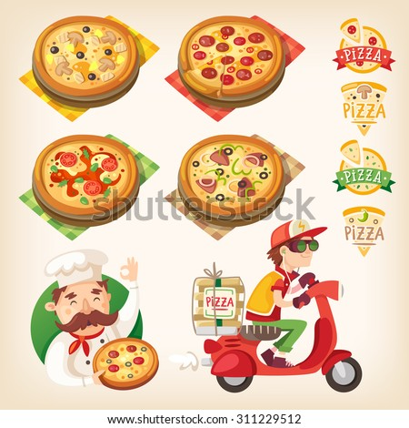 Pizza related pictures: kinds of pizza on the board, logos, italian cook and pizza delivery boy - stock vector