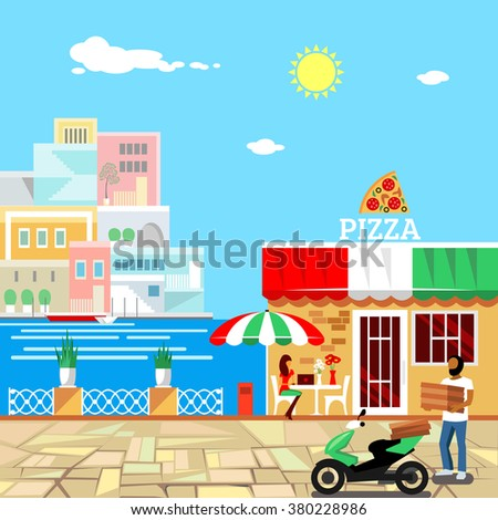 Pizza restaurant with terrace in front. Man delivers pizza. Calm place in city center. Woman eats pizza at the table.  - stock vector